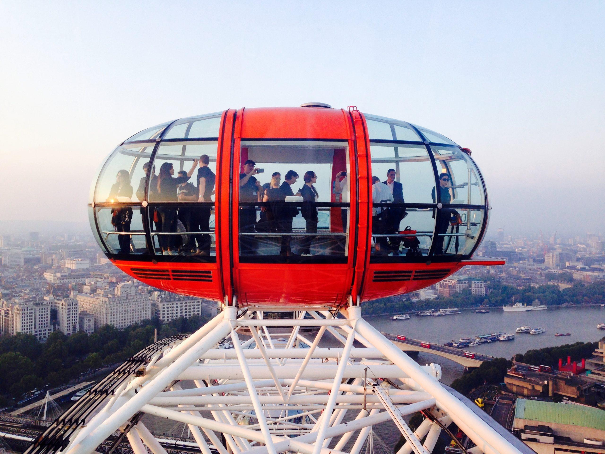London Eye, Large Ferris Wheel on Beautiful Summer Day